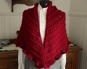 Hand Knit Crimson Wool Blend Shawl Ready to Ship