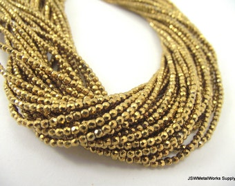 Gold Hematite Faceted Round Beads, 2mm, 16 Inch Strand, Whole Strand