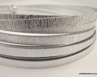 Flat Silver Embossed Anodized Aluminum Wire, Flat Wire, 5 x 1 mm, 20 foot coil