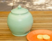 Mint Green Cookie Jar  - hand-thrown, stoneware pottery, cookie jar, canister