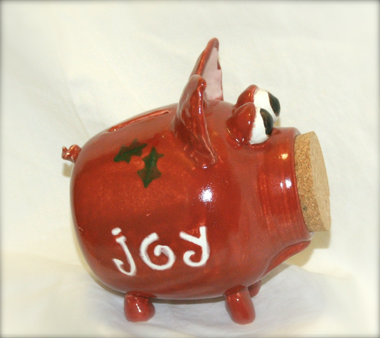 Holly red ceramic piggy bank hand thrown by muddywaterscc Large piggy banks for adults