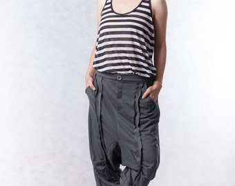 NO.154 Dusty dark Gray Cotton-Blend Jersey Casual Harem Pants, Drop-Crotch Trousers