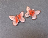 Torch Enamelled Brass Butterfly in Peach and Red
