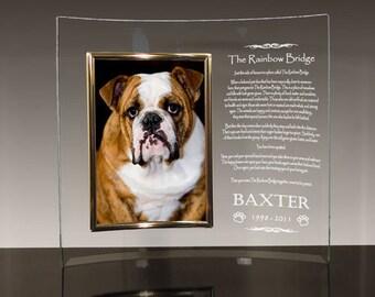 Personalized Dog Memorial Glass Frame - Rainbow Bridge Poem | Rainbow Bridge Gifts