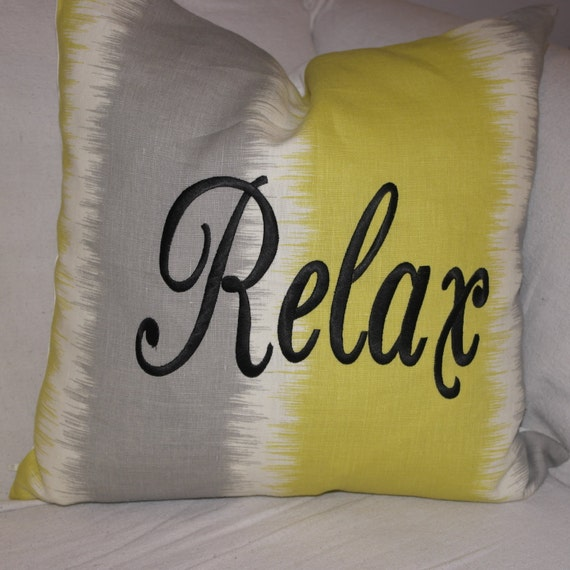 Embroidered Throw Pillow Cover  - 18 x 18 -Citrine Yellow,  Off White & Slate Grey  Striped Cotton Pillow Cover