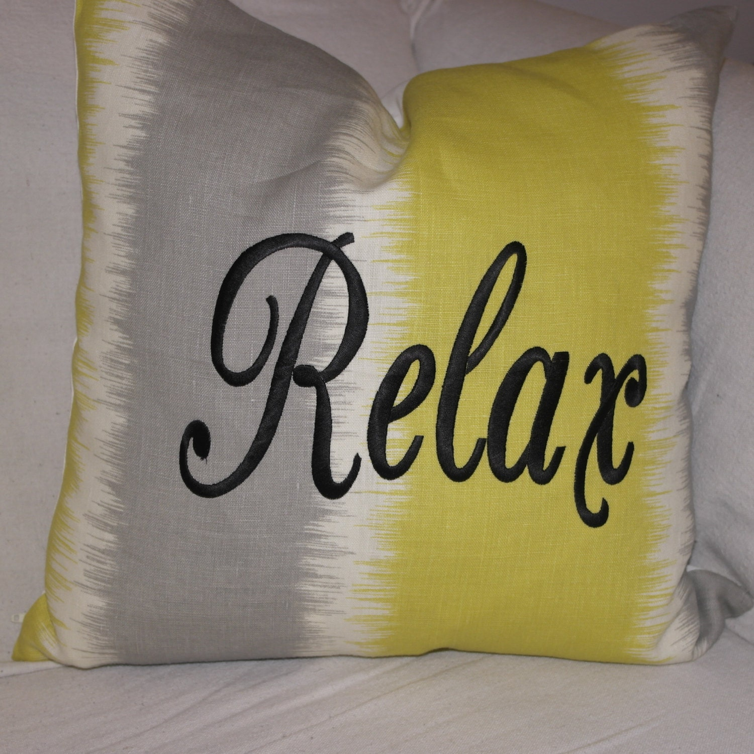Embroidered Throw Pillow Covers : Embroidered Throw Pillow Cover 18 x 18 Citrine Yellow
