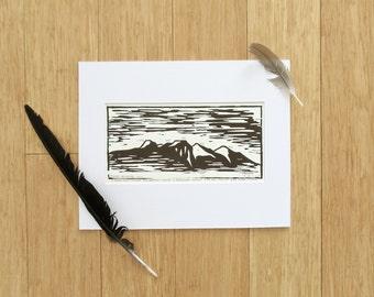 continental divide wood block print // fraser valley series ii
