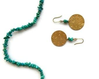 bohemian sun brass earrings // turquoise jewelry