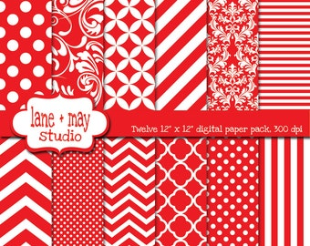 red and white patterns - digital scrapbook papers - variety pack - INSTANT DOWNLOAD