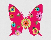 Butterfly Floral Needlepoint Kit Canvas & Threads