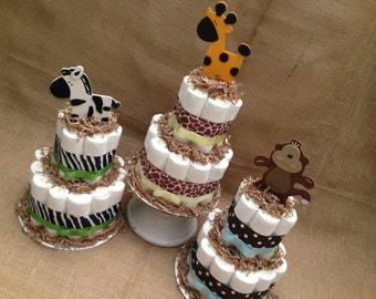 2 tier Jungle Safari Diaper Cakes for Baby Shower Centerpiece or New Baby Gift, Safari Baby Shower, Jungle Baby Shower