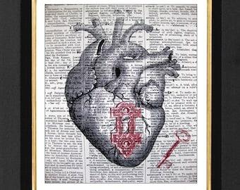 Anatomical Heart Lock and Key, Anatomical Print, Anatomical Pictures, Heart Prints, Anatomical Heart, Dictionary Print, Cardiology Heart