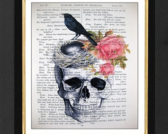 William Shakespeare Book Print ---Hamlet The Prince Of Denmark Play Print - 7x10 Vintage Shakespeare book page,Book Art Print