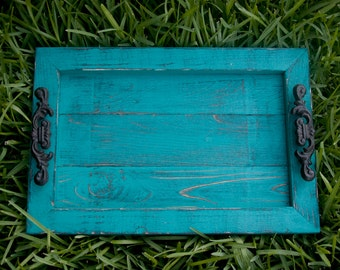 Decorative / Serving Tray - Turquoise Distressed