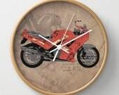 WALL CLOCK for bikers | Triumph Daytona 1000 1992 | Original collage