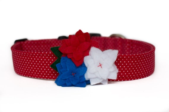 4th of July Dog Collar with Flower - Patriotic Red & White Dots
