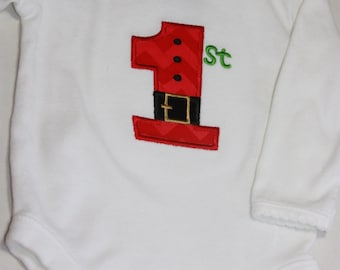 Babies First Christmas Applique Onsie
