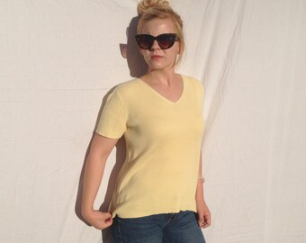 Simply Yellow Striped Short Sleeve Sweater Shirt