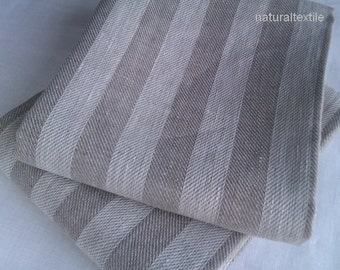 100% Linen BATH Sheets TOWELS HERRINGBONE European Flax - Striped - Natural Gray Large Wrap