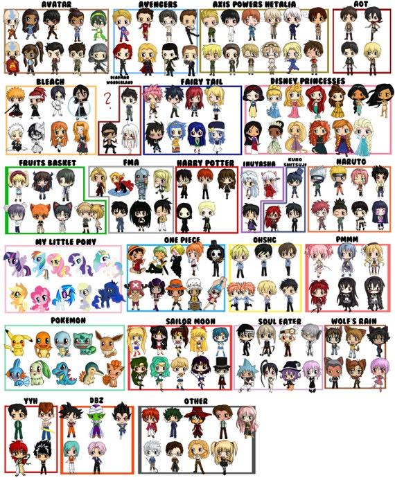 Anime Characters List : Items similar to custom chibi character tote bag