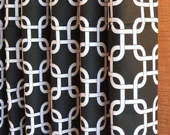 Window Treatments Curtains Drapery Panels 24W or 50W x 63, 84, 90, 96 or 108L Gotcha Black White shown