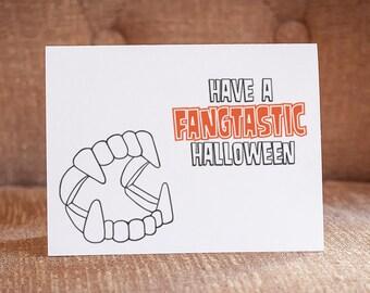Have a Fangtastic Halloween Letterpress Card