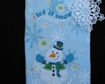 """Embroidered """"Let it Snow"""" Kitchen Towel"""