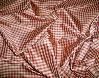TAPESTRIA FRENCH COUNTRY Gingham Check Silk Fabric 10 yards Burgundy Gold