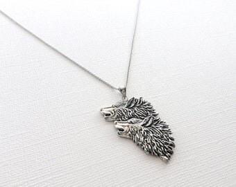 Howling Two Wolves Necklace in Sterling Silver, Animal Jewelry, Wolf Jewelry