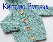 PDF Knitting Pattern - Hooded Cardigan, Infant Sweater, Baby Toddler Hoodie Knitting Pattern, Baby Cardigan Pattern