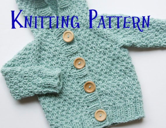 Knitting Pattern Baby Hoodie : PDF Knitting Pattern Hooded Cardigan Infant Sweater Baby
