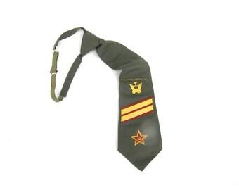 Soviet army tie Soviet vintage mens tie Khaki green skinny necktie with tie clip Soviet military tie