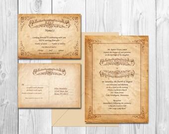 VINTAGE WEDDING INVITATIONS printable - Scroll Fairytale Manifesto