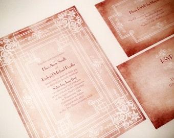 Art deco Wedding Invitations - Fairytale wedding invitations {Corpus Christi design}