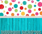 All in One Colorful Grunge Dots and Bright Blue Wood - Vinyl Photography  Backdrop Photo Prop