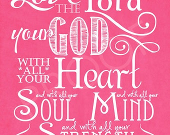 Scripture Art - Mark 12:30 Chalkboard Style