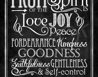 Scripture Art - Galatians 5:22-23 Chalkboard Style