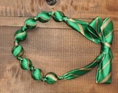 Upcycled Necktie Green and Gold Beaded Necklace