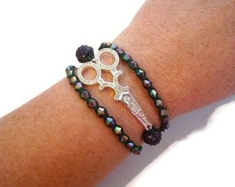 Rainbow Scissor Bracelet, Purple Scissor Wrap Bracelet, Shears Bracelet, Stylist Jewelry