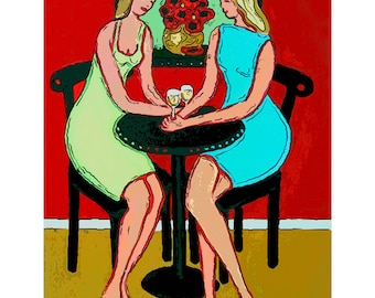 Wine Girlfriends Friendship - Therapy Session - Glicee Print 8x10 16x20 from original painting Korpita ebsq