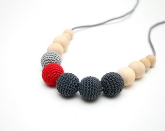 Grey & Red Crochet Breastfeeding Nursing necklace, Teething toy for baby, Babywering necklace