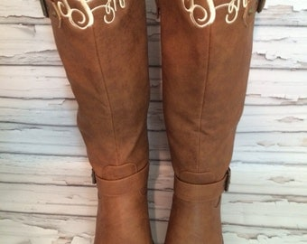 Monogrammed Riding Boots Quilted  Women's Personalized