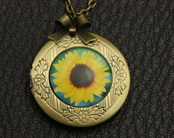 Necklace locket sunflower 2020m