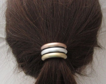 Ponytail Holder Mixed Metal Tubes-Sterling Silver-Copper-Brass Ox Finish