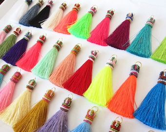 "Luxurious Handmade Silky Beaded Long Tassels for Jewelry Making and Interior Design Projects Home Decor Tassels 3"" Tassels 50+ Colors"