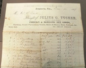 1867 Receipt from Julius G. Tucker Dry Goods - Clothing, Gents' Furnishings, Boots, Shoes, Hats and Notioins