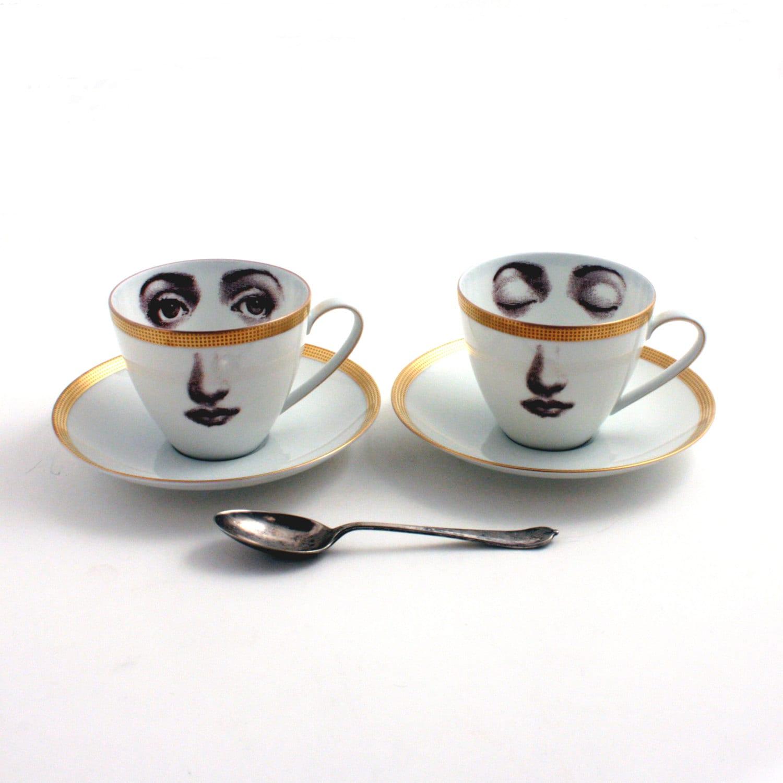 set von 2 kaffee tassen frau gesicht porzellan espresso. Black Bedroom Furniture Sets. Home Design Ideas