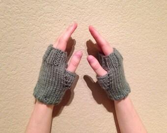 Pale Green Fingerless Gloves