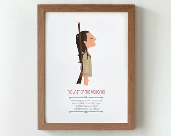 Illustration. The last of the Mohicans.  Print. Wall art. Art decor. Hanging wall. Printed art. Decor home. Gift idea. Sweet home.
