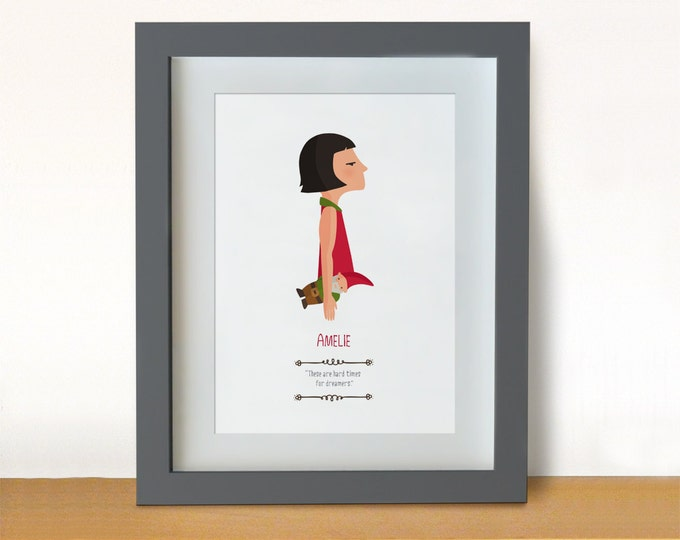 Illustration. Amélie. Jean-Pierre Jeunet. Print. Wall art Art decor. Hanging wall. Printed art. Decor home. Gift idea. Bedroom. Sweet home.